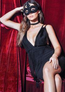 Plunge Tassel Fringe Detail Bodycon Dress Black