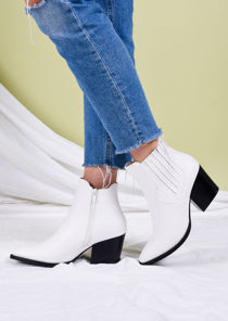 Pointed Toe Block Heel Western Ankle Boots White