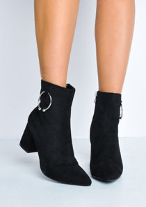 Pointed Toe Ring Block Heel Ankle Boots Black