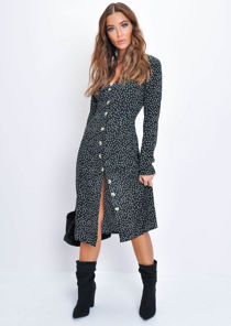 Polka Dot Button Through Midi Dress Black