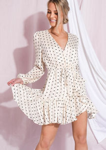 Polka Dot Frill Hem Wrap Front Mini Dress Cream