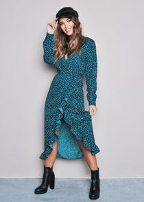 Polka Dot Frill Wrap Front Midi Dress Green
