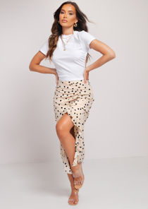High Waisted Polka Dot Side Split Ruched Frill Midi Skirt Beige