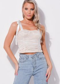 Tie Up Shoulder Cup Detail Lace Top White