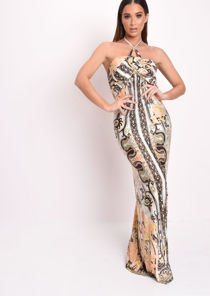 Printed Halterneck Maxi Dress Beige