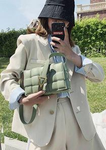 PU Braided Padded Crossbody Purses Box Bag Green