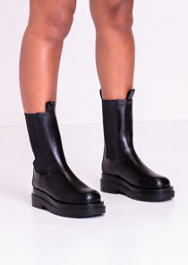 Pu Calf High Chunky Cleated Sole Chelsea Boots Black