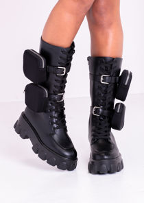 Pu Double Pouch Lace Up Chunky Sole Long Boots Black