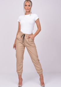 PU Leather Look Pocket Detail Utility Jogger Trousers Beige