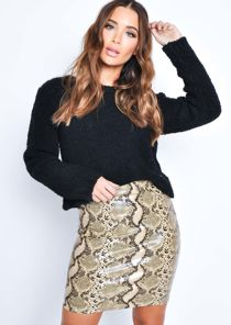 PU Snake Print Pencil Mini Skirt Gold