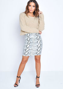 PU Snake Print Pencil Mini Skirt White