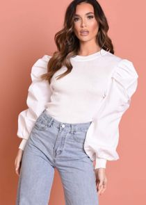Puff Long Sleeve Ruched Ribbed Top White