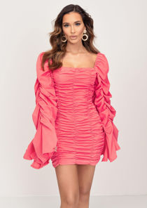 Oversized Puff Shoulder Off Shoulder Shirred Mini Dress Coral Pink