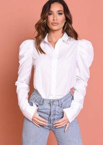 Puff Sleeve Button Down Shirt White