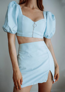 Puff Sleeve Crop Top And Mini Skirt Co Ord Set Blue