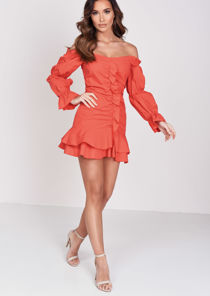 Puff Sleeve Frill Hem Mini Dress Coral