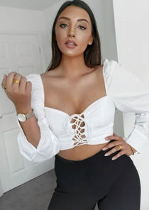Puff Sleeve Lace Up Front Crop Top White
