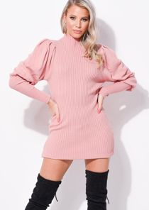 Puff Sleeve Ribbed High Neck Jumper Dress Pink