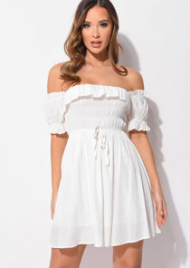 Puff Sleeve Ruffle Shirred Mini Dress Beige