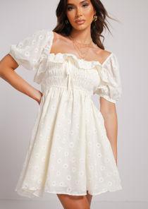 Daisy Print Puff Sleeve Ruffle Shirred Mini Dress Yellow