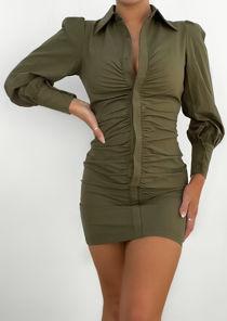 Puffed Long Sleeve Ruched Front Mini Shirt Dress Khaki Green