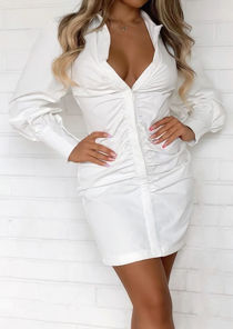 Puffed Long Sleeve Ruched Front Mini Shirt Dress White