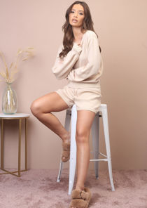 Knitted Puff Sleeves Drawstrings Sweater Shorts Loungewear Co Ord Set Beige