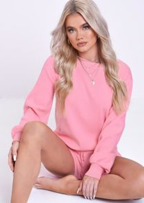 Knitted Puff Sleeves Drawstrings Sweater Shorts Loungewear Co Ord Set Pink