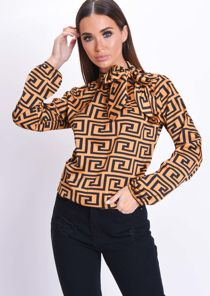 Pussybow Geometric Pattern Blouse Mustard Yellow