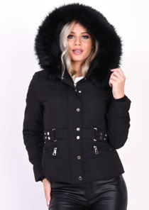 Quilted Faux Fur Hooded Belted Puffer Coat Black