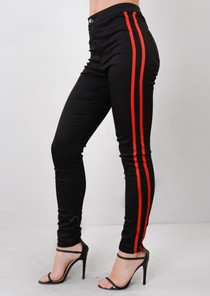 Red Side Stripe High Waisted Skinny Denim Jeans Black