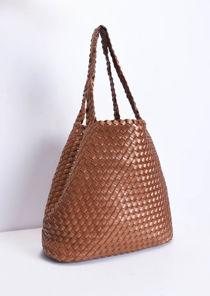 Reversible Woven Tote Bag Brown