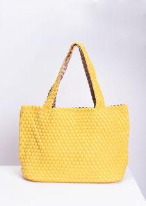 Reversible Woven Tote Bag Neon Yellow