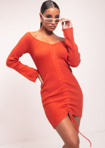 Off Shoulder Long Sleeve Rib Knit Ruched Mini Dress Red