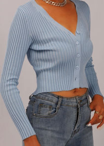 Ribbed Button Down Crop Cardigan Knitted Top Blue