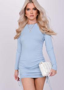 Ribbed Drawstring Side Ruched Long Sleeves Mini Dress Blue