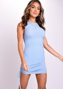 Ribbed Drawstring Side Ruched Mini Dress Blue