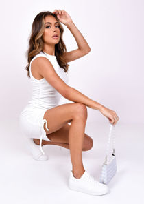 Ribbed Drawstring Side Ruched Mini Dress White