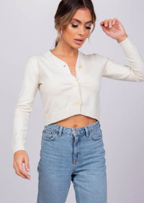 Ribbed Button Down Cropped Cardigan Top Beige