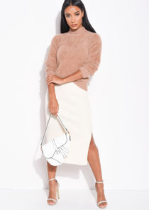 Ribbed Knit Button Side Split Detail Midi Skirt Cream