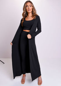 Ribbed Longline Cardigan Crop Top Legging Co-Ord Set Black
