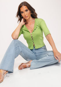 Ribbed Pearl  Button Front Mid Sleeve Crop Cardigan Knitted Top Green