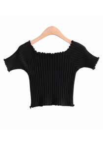 Ribbed Square Neckline Crop Knitted Top Black