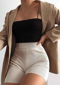 Ribbed Stretch Bandeau Skinny Straps Knit Crop Vest Top Black