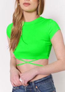 Ribbed Tie Back Crop Top Green