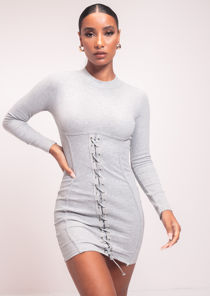 Ribbed Underbust Detailing Lace Up Midi Dress Grey