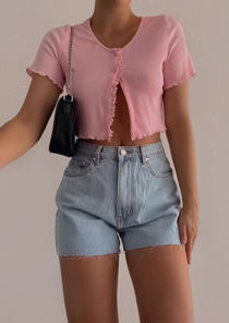 Ribbed V Neck Frill Button Front Crop Top Pink