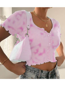 Ribbed V Neck Frill Button Front Crop Top Tie Dye Pink