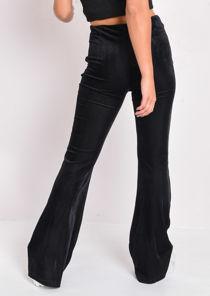 Ribbed Velvet High Waisted Flared Leg Trousers Black
