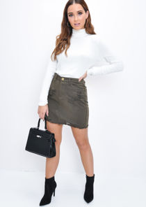 Ripped Denim Mini Skirt Khaki Green